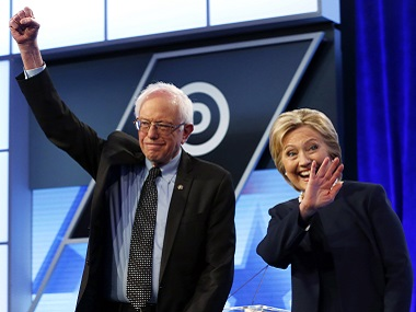 Democratic presidential candidates, Hillary Clinton and Bernie Sanders. AP