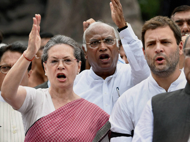 File image of Sonia Gandhi and other Congress leaders. PTI