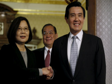 President-elect Tsai Ing wen (left) with outgoing president Ma Ying Jeou. Reuters
