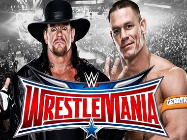 The Undertaker with John Cena in a Wrestlemania 32 promo. Image from YouTube
