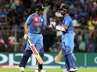 Virat Kohli and Ajinkya Rahane in the match against West Indies. Solaris Images