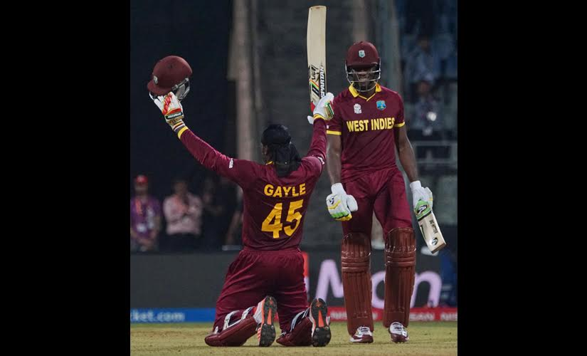 Chris Gayle after his century against England in World T20 Super 10s stage.