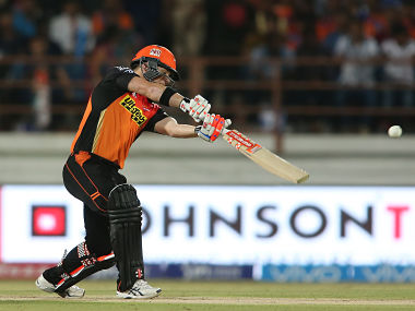 David Warner in action against Gujarat Lions. Sportzpics