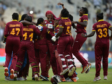 West Indies women's team celebrate after winning the World T20 final against Australia. Getty Images