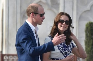 Are they talking about the Taj Mahal? Britain's Prince William, along with his wife, Kate, the Duchess of Cambridge at the Taj Mahal in Agra on Saturday. PTI