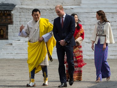 The Duke and Duchess of Cambridge with King Jigme Khesar Namgyel Wangchuck and Queen Jetsun Pema of Bhutan. AFP