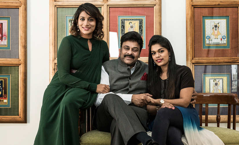 Chiranjeevi with his daughters Sreeja and Sushmitha