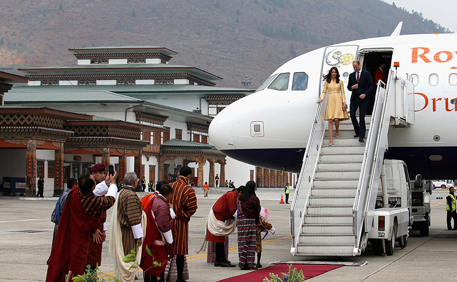 The Duke and Duchess of Cambridge arrive into Paro International Airport for the first day of a two day visit to Bhutan on the 13th April 2016 in Paro, Bhutan. The Royal couplpe are visiting Bhutan as part of a week long visit to India and Bhutan that has taken in cities such as Mumbai, Delhi, Kaziranga, Bhutan and Agra. Getty