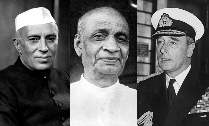 (L-R) Nehru, Patel and Mountbatten. Images from Getty