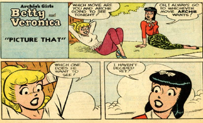 This retro panel shows an earlier avatar of Riverdale's best known girls