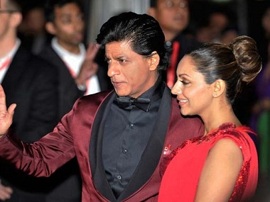 Shah Rukh Khan with wife Gauri. Image from IBNlive