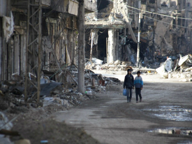 File image of a bombing in Deir Ezzor. Getty images.