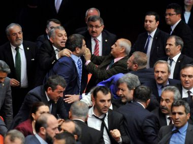 Watch: Who cares about laws? Turkey politicians brawl during vital Parliament session