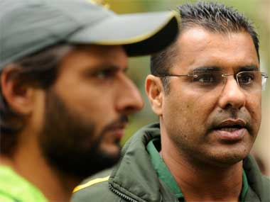 Waqar Younis (right) with Shahid Afridi. Reuters