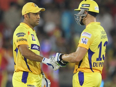 Du Plessis (right) has played with Dhoni at Chennai Super Kings and Rising Pune Supergiants. BCCI file image.