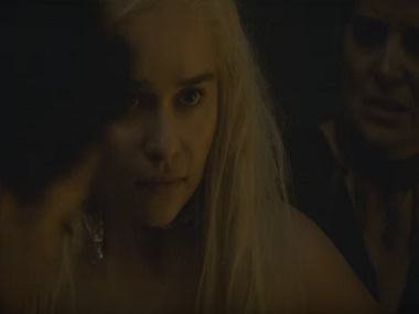 Emilia Clarke in a scene from Game of Thrones season six. Screengrab from YouTube
