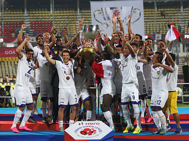 Chennaiyin FC with ISL trophy. ISL