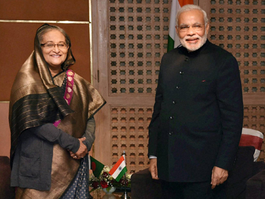 File image of Sheikh Hasina and Narendra Modi. PTI