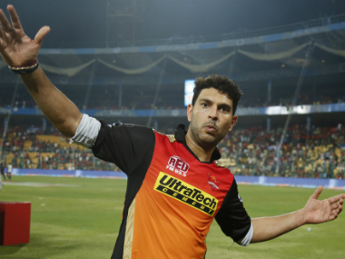 Yuvraj Singh poses after SRH's victory over RCB in the IPL 2016 final in Bengaluru. Sportzpics