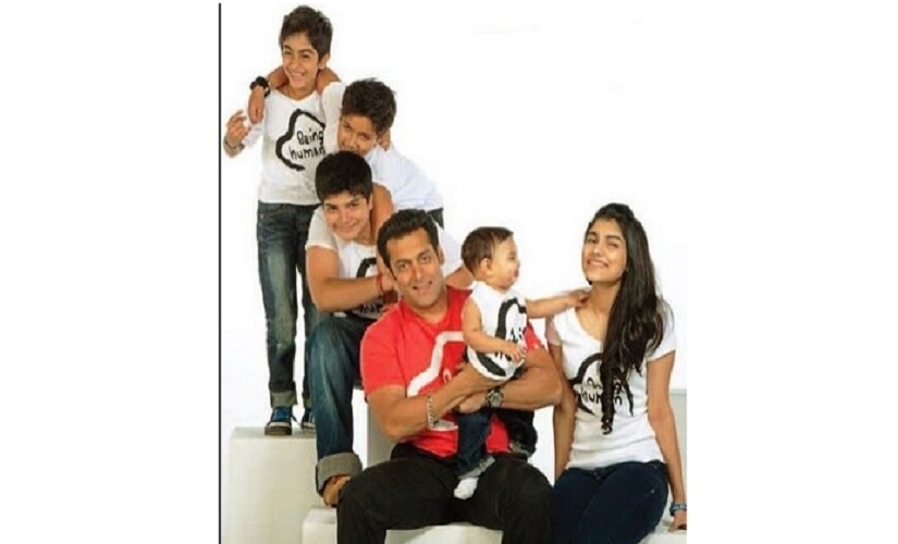 For a Being Human campaign a little while ago, Salman had a photo shoot with nephews Arhaan, Ayaan, Nirvaan, Yohan and niece Alizeh