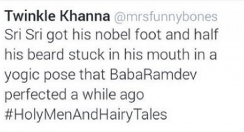 Art of living or intimidation Twitter backs Twinkle Khanna for joke on Sri Sri