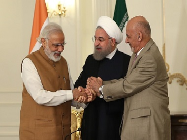 President of Afghanistan Ashraf Ghani (R), Prime Minister of India Narendra Modi (L) and President of Iran Hassan Rouhani (C). Getty Images  (Photo by Pool / Iran Presidency/Anadolu Agency/Getty Images)