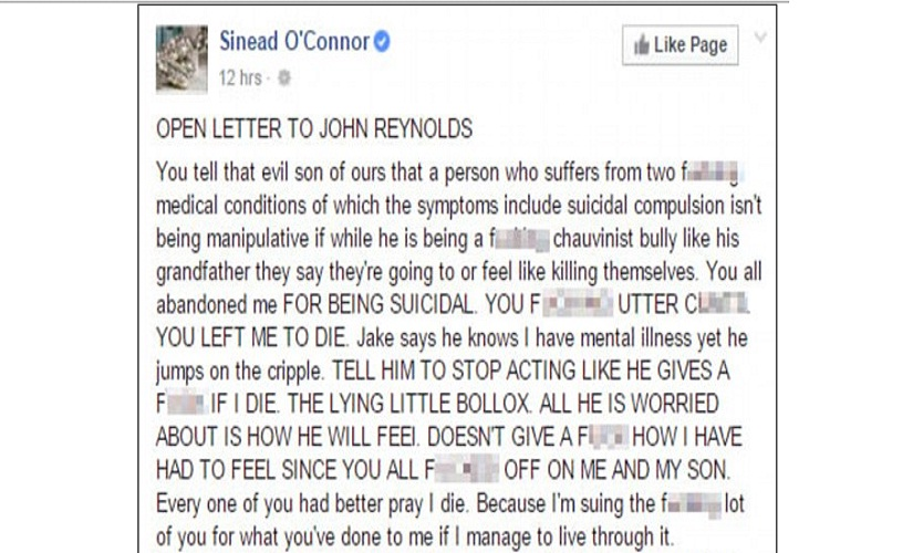 A screenshot of Sinéad O'Connor's latest Facebook post, put up by The Daily Mail