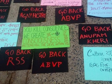 The 'warm' welcome received by Vivek Agnihotri at Jadavpur University. Image credit: Agnihotri