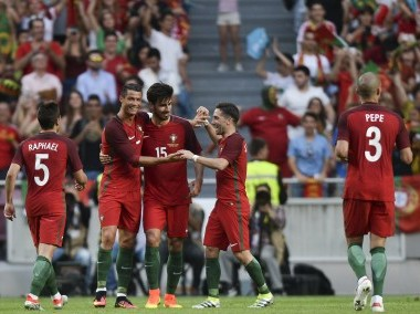 Portugal's forward Cristiano Ronaldo along with other teammates. AFP
