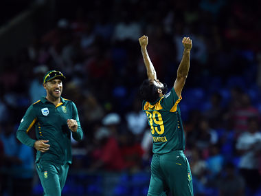South African bowler Imran Tahir celebrates a wicket. AFP