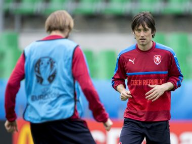 Czech Republic's midfielder Tomas Rosicky attends a training session in Saint Etienne. AFP