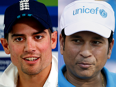 Alastair Cook and Sachin Tendulkar (right). Reuters