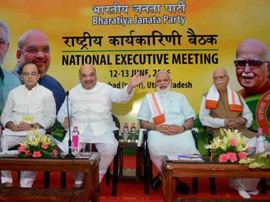 Prime Minister Narendra Modi, BJP President Amit Shah, Finance Minister Arun Jaitley and Senior BJP leader LK Advani  during the party's national executive meet in Allahabad on Sunday. PTI