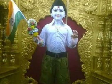 Lord Swaminarayan's idol dressed up in RSS uniform. Twitter @vaidehisachin