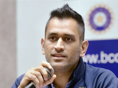 MS Dhoni at the press conference in Mumbai before the team's scheduled departure for Zimbabwe. PTI