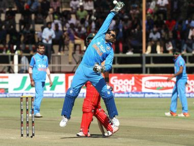 File photo of Indian wicketkeeper-captain MS Dhoni during the first one-day international with Zimbabwe. PTI