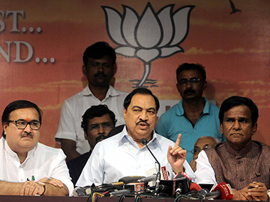 Eknath Khadse (C) at the press conference. Sachin Gokhale/Firstpost