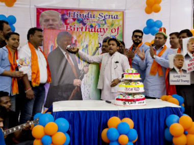 Hindu Sena celebrates Donald Trump's birthday. AP
