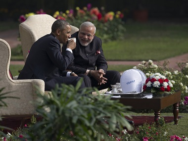 File photo of US President Barack Obama and PM Narendra Modi in New Delhi. AP