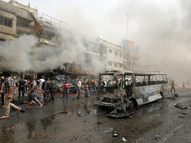The scene of a deadly suicide car bomb attack in the neighbourhood of New Baghdad. AP
