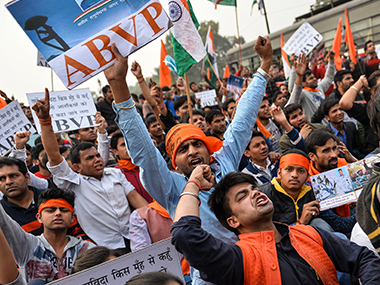 File image of nationalistic protests at JNU. AFP