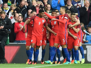 Marcus Rashford scored on his debut for England against Australia in a friendly. AFP