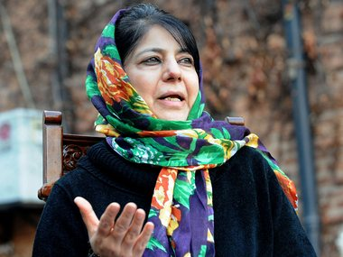 J&K CM Mehbooba Mufti files nomination. AFP