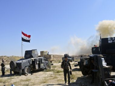 Iraqi counterterrorism forces face off with Islamic State militants on the southern edge of Fallujah. AP