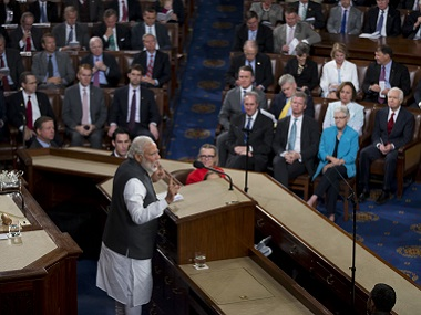 Prime Minister Narendra Modi addresses a joint meeting of Congress on Capitol Hill in Washington. AP