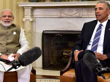 Prime Minister Narendra Modi with President Barack Obama at the White House. Image courtesy MEA
