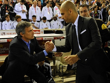File image of Jose Mourinho (left) and Pep Guardiola. AFP