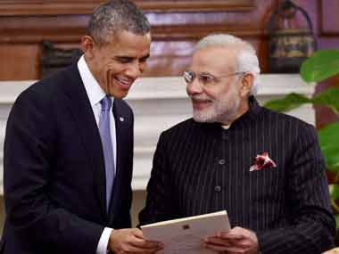 US President Barack Obama and Indian PM Narendra Modi. PTI