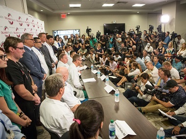 Nine trauma surgeons and survivor Angel Colon speak to the media for the first time about the aftermath of the mass shooting in Orlando. Tampa Bay Times via AP