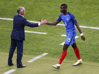France coach Didier Deschamps (left) substituted Paul Pogba after a disappointing performance in the opening match against Romania. AP